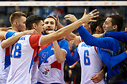 Poland, Krakow - 2017 September 03: (centre) Nemanja Petric from Serbia celebrates with team mates victory for Serbia team while Third Place match between Belgium and Serbia during LOTTO EUROVOLLEY POLAND 2017 - European Championships in volleyball  at Tauron Arena on September 03, 2017 in Krakow, Poland.<br /> <br /> Mandatory credit:<br /> Photo by &copy; Adam Nurkiewicz<br /> <br /> Adam Nurkiewicz declares that he has no rights to the image of people at the photographs of his authorship.<br /> <br /> Picture also available in RAW (NEF) or TIFF format on special request.<br /> <br /> Any editorial, commercial or promotional use requires written permission from the author of image.