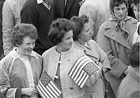 95328<br /> <br /> American President John Fitzgerald Kennedy (J.F.K.)'s visit to Ireland June 1963.<br /> A group of young ladies with American flags.<br /> (Part of the Independent Newspapers Ireland/NLI collection.)