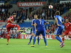 Wales Joe Ledley heads close to goal. - Photo mandatory by-line: Alex James/JMP - Mobile: 07966 386802 - 10/10/2014 - SPORT - Football - Cardiff - Cardiff City Stadium - Wales v Bosnia and Herzegovina - EURO 2016 Qualifiers