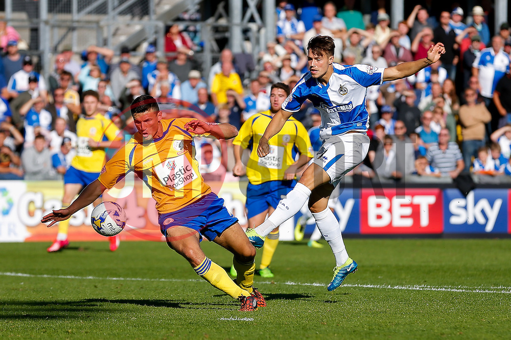 Matty Pearson of Accrington Stanley blocks a shot from Billy Bodin of Bristol Rovers - Mandatory byline: Rogan Thomson/JMP - 07966 386802 - 12/09/2015 - FOOTBALL - Memorial Stadium - Bristol, England - Bristol Rovers v Accrington Stanley - Sky Bet League 2.