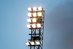 BIRKENHEAD, ENGLAND - Saturday, February 18, 2012: Floodlights at Prenton Park during the Football League One match between Tranmere Rovers and Charlton Athletic. (Pic by Vegard Grott/Propaganda)