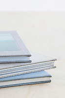 Pile of note books studio shot
