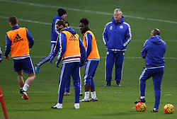 © Licensed to London News Pictures. 22/12/2015. London, UK. Chelsea football club interim manager Guus Hiddink (2R) takes a training session at the club's Cobham ground. Photo credit: Peter Macdiarmid/LNP