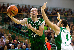 Damir Markota of Union Olimpija vs Marko Durkovic of Krka during basketball match between KK Krka and Union Olimpija Ljubljana of Round 7th of ABA League 2011/2012, on November 12, 2011 in Arena Leon Stukelj, Novo mesto, Slovenia. (Photo By Vid Ponikvar / Sportida.com)