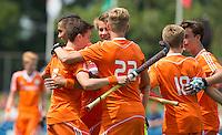 BREDA - Vreugde bij Oranje    tijdens   de wedstrijd tussen Nederland en Ierland bij het Volvo Tournament U16. Copyright Koen Suyk