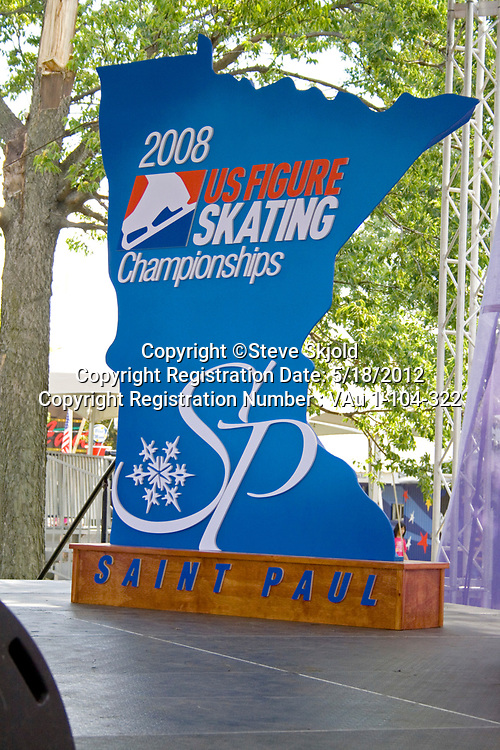 State of Minnesota shaped poster for the 2008 US Figure Ice Skating Championships. Minnesota State Fair St Paul Minnesota MN USA