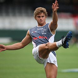 Patrick Lambie<br /> THE SHARKS CAPTAIN PRACTICE AT THE ABSA STADIUM IN DURBAN PRIOR TO THE MATCH WITH THE REDS.