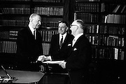 16/03/1965<br /> 03/16/1965<br /> 16 March 1965<br /> New Supreme Court Judge and New Attorney General appointed. President Eamon de Valera presenting the Warrant of Appointment to Aindrias O Caoimh, (right) new Judge of the Supreme Court at Aras an Uachtarain. An Taoiseach Sean Lemass in the centre.