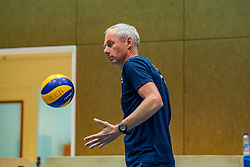 07-05-2019 NED: Press moment national volleyball team Men, Arnhem<br /> Roberto Piazza, the new national coach of the Dutch men's team, gives an overview of the group matches of the Golden European League, the OKT and the European Championship played in their own country / Assistant coach Henk Jan Held