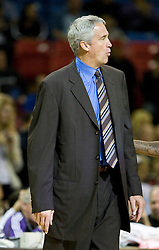 February 28, 2010; Sacramento, CA, USA;  Los Angeles Clippers coach Kim Hughes during the first quarter against the Sacramento Kings at the ARCO Arena. Sacramento defeated Los Angeles 97-92.