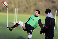 Sam Warburton in action. Wales rugby team training at the Vale, Hensol, near Cardiff on Thursday 29th November 2012. the team are preparing for their final Autumn international match against Australia this Saturday. pic by Andrew Orchard, Andrew Orchard sports photography,