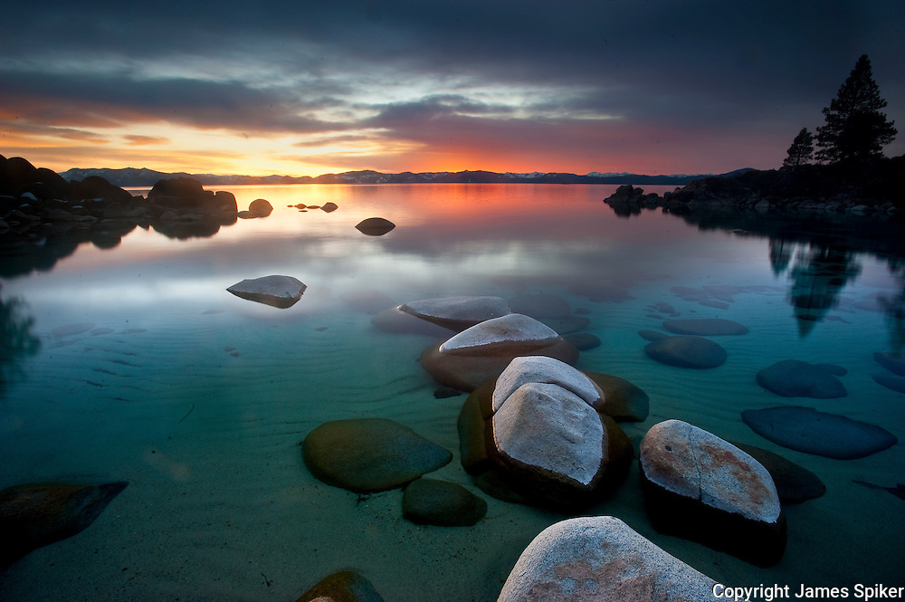 """Secret Harbor Sunset 2"" - The sun sets at Secret Beach on the Eastern Shore of Lake Tahoe"