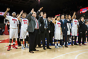 DALLAS, TX - DECEMBER 16: The SMU Mustangs stand during the school song after defeating the Nicholls State Colonels on December 16, 2015 at Moody Coliseum in Dallas, Texas.  (Photo by Cooper Neill/Getty Images) *** Local Caption ***