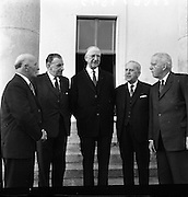 President Eamon de Valera receives new cabinet members at Áras an Uachtarain..21.04.1965