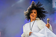 Henham Park, Suffolk, 19 July 2019. Neneh Cherry plays the Obelisk Stage. The 2019 Latitude Festival.