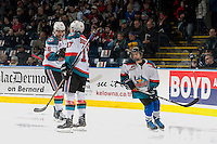 KELOWNA, CANADA - JANUARY 7: The Pepsi Save On Foods player of the game warms up on the ice with Tomas Soustal #15 and Rodney Southam #17 of the Kelowna Rockets against the Kamloops Blazers on January 7, 2017 at Prospera Place in Kelowna, British Columbia, Canada.  (Photo by Marissa Baecker/Shoot the Breeze)  *** Local Caption ***