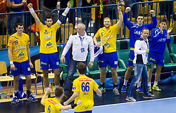 Players of Celje celebrate during handball match between RK Celje Pivovarna Lasko and RK Croatia Osiguranje Zagreb in Round 7 of Group A of EHF Men's Champions League 2013/14, on November 30, 2013 in Arena Zlatorog, Celje, Slovenia. Photo by Vid Ponikvar / Sportida