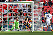 Karl Dryden (Morpeth Town) makes a save at his near post from a shot by Joe Tumelty (Hereford FC) during the FA Vase match between Hereford and Morpeth Town at Wembley Stadium, London, England on 22 May 2016. Photo by Mark Doherty.