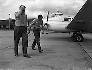 17/08/1960<br /> 08/17/1960<br /> 17 August 1960<br /> Air - Sea rescue mission from Baldonnel airstrip. Lieutenant J.N.J. Bagnall, co-pilot and Commandant D.H. Healy, pilot boarding their Irish Aircorps de Havilland DH.104 Dove for an air/sea rescue service flight.