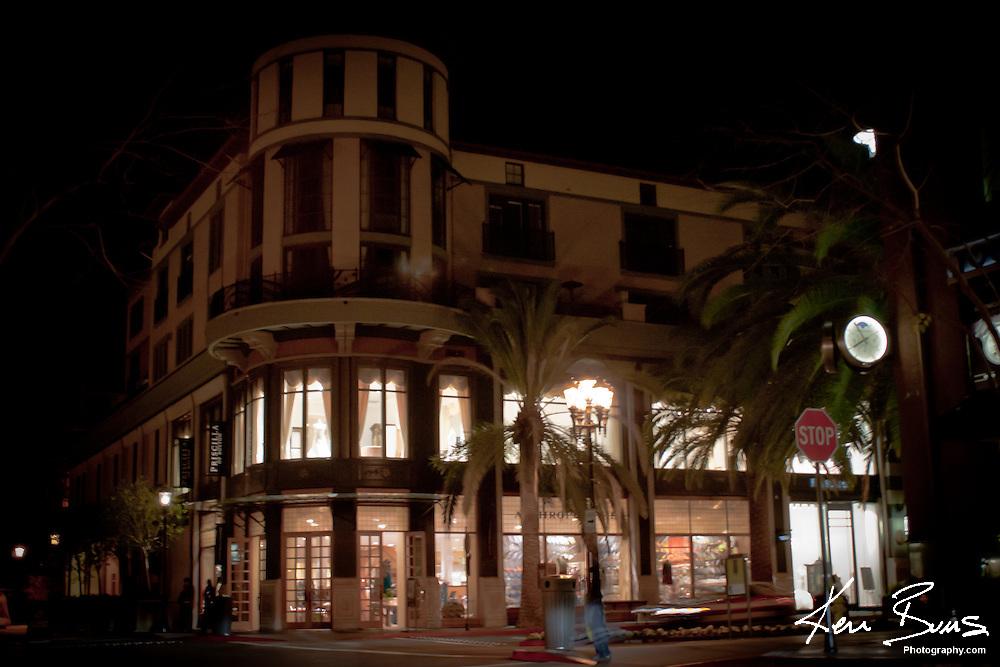 A picture of shops at Santana Row taken at night, in San Jose, California.