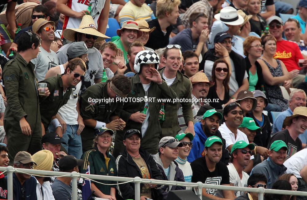 Fans enjoy the cricket.<br />2nd one day international. New Zealand Black Caps versus Australia one day Chappell Hadlee cricket series. Eden Park, Auckland, New Zealand. Saturday 6 March 2010. Photo: Andrew Cornaga/PHOTOSPORT