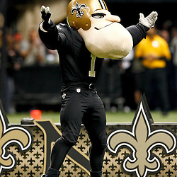 November 25, 2012; New Orleans, LA, USA; New Orleans Saints mascot Big Chin Charlie Saint prior to a game against the San Francisco 49ers at the Mercedes-Benz Superdome. The 49ers defeated the Saints 31-21. Mandatory Credit: Derick E. Hingle-US PRESSWIRE