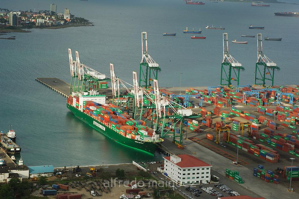 Aerial view of Colon Container Terminal port. Colon City, Colon province, Panama, Central America.