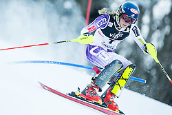 """Shiffrin Mikaela (USA)  competes during FIS Alpine Ski World Cup 2014/15 5th Ladies' Slalom race named """"Snow Queen Trophy 2015"""", on January 4, 2015 in Crveni Spust hill at Sljeme near Zagreb, Croatia.  Photo by Vid Ponikvar / Sportida"""
