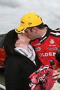 Garth Tander of the Holden Racing Team with his wife Leanne after winning the Winton 400  ~ V8 Supercar Series Round 9 at Winton Motor Raceway, Victoria Australia on Sunday 3rd August 2008. Photo: Clay Cross/PHOTOSPORT