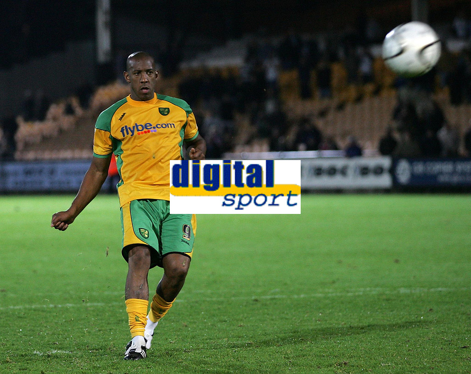 Photo: Paul Thomas.<br /> Port Vale v Norwich City. Carling Cup. 24/10/2006.<br /> <br /> Dion Dublin of Norwich scores during the penalty shoot out.