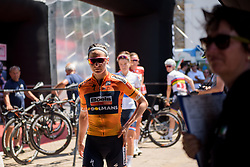Megan Guarnier makes her way to sign in for Stage 9 of the Giro Rosa - a 122.3 km road race, between Centola fraz. Palinuro and Polla on July 8, 2017, in Salerno, Italy. (Photo by Sean Robinson/Velofocus.com)