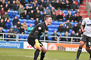 Bury Goalkeeper, Ian Lawlor organizes the defence for a corner during the Sky Bet League 1 match between Oldham Athletic and Bury at Boundary Park, Oldham, England on 23 January 2016. Photo by Mark Pollitt.
