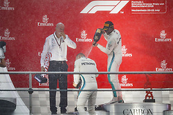 July 22, 2018 - Hockenheim, Germany - Motorsports: FIA Formula One World Championship 2018, Grand Prix of Germany, .Dr. Dieter Zetsche (Chairman of the Board of Management of Daimler AG, Head of Mercedes-Benz Cars), #77 Valtteri Bottas (FIN, Mercedes AMG Petronas Motorsport), #44 Lewis Hamilton (GBR, Mercedes AMG Petronas Motorsport) (Credit Image: © Hoch Zwei via ZUMA Wire)