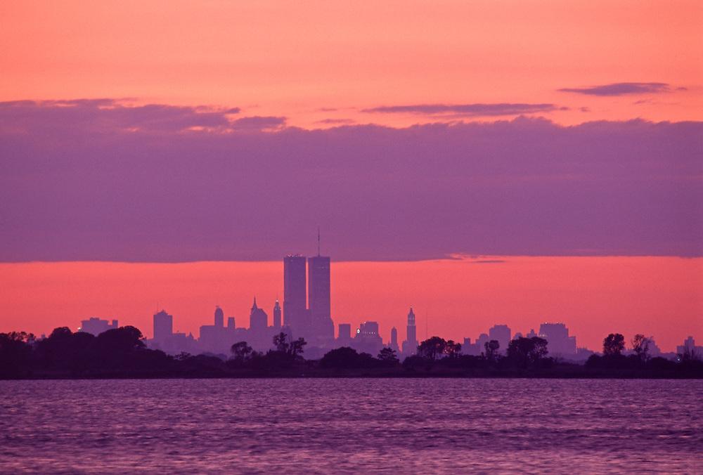 Lower Manhattan Skyline across Jamaica Bay from Rockaway Park, Queens, New York City, New York,  Sunset,  Twin Towers of the World Trade Center