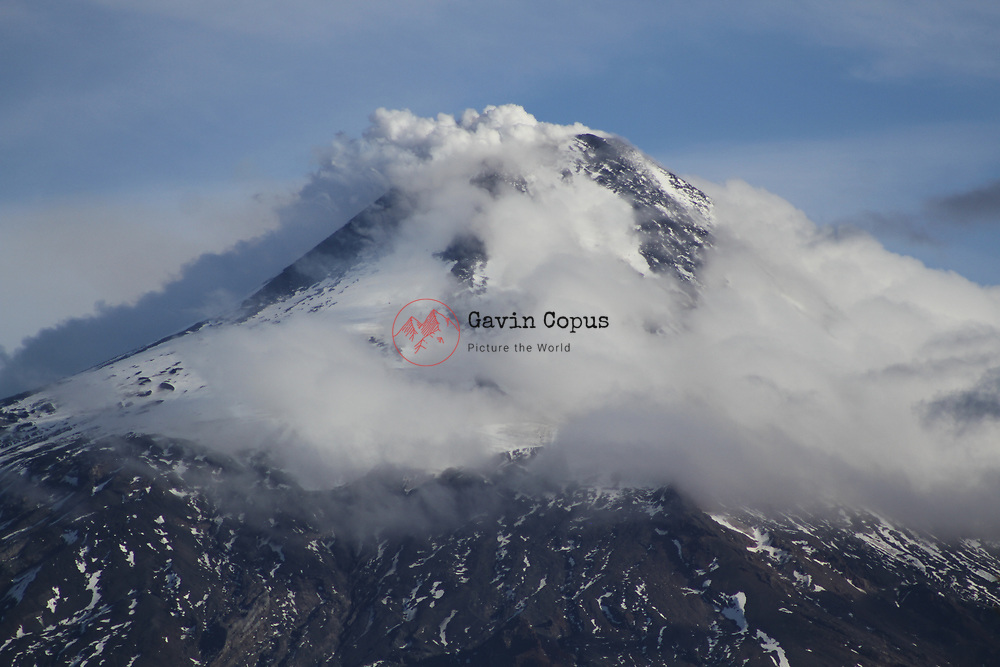 Volcano, Villarrica, Chile, Patagonia, Pucon, venting, steaming, erupting