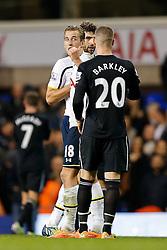Harry Kane of Tottenham Hotspur gestures to Ross Barkley of Everton after Tottenham win 2-1 - Photo mandatory by-line: Rogan Thomson/JMP - 07966 386802 - 30/11/2014 - SPORT - FOOTBALL - London, England - White Hart Lane - Tottenham Hotspur v Everton - Barclays Premier League.