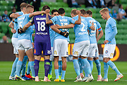 MELBOURNE, VIC - NOVEMBER 09: City team huddle before kick off at the Hyundai A-League Round 4 soccer match between Melbourne City FC and Wellington Phoenix on November 09, 2018 at AAMI Park in Melbourne, Australia. (Photo by Speed Media/Icon Sportswire)