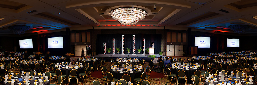 The stage is set for the opening of the American Society of Mechanical Engineers (ASME) conference at the Manchester Grand Hyatt. Event photography by Dallas event photographer William Morton of Morton Visuals.