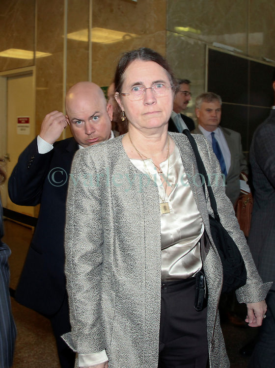 01 June  2015. New Orleans, Louisiana. <br /> L/R/ Rita Benson LeBlanc, her brother Ryan LeBlanc and their mother Renee LeBlanc leave Civil Distrcit Court where they attended a hearing to determine the competency of grandfather/father Tom Benson. Benson is the billionaire owner of the NFL New Orleans Saints, the NBA New Orleans Pelicans, various Mercedes dealerships, banks, property assets and a slew of business interests. Rita, her brother and mother demanded a competency hearing after Benson changed his succession plans and decided to leave the bulk of his estate to third wife Gayle, sparking a controversial fight over control of the Benson business empire.<br /> Photo©; Charlie Varley/varleypix.com