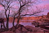 A family at Watson Lake in Prescott Arizona at twight.