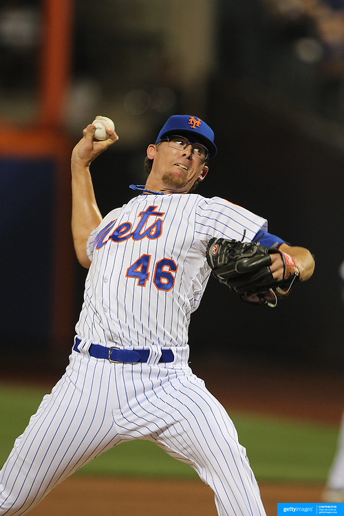 Pitcher Tyler Clippard, New York Mets, pitching during the New York Mets Vs Washington Nationals MLB regular season baseball game at Citi Field, Queens, New York. USA. 2nd August 2015. Photo Tim Clayton