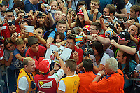 Fernando Alonso (ESP) Ferrari signs autographs for the fans in the pit lane.<br /> Italian Grand Prix, Thursday 4th September 2014. Monza Italy.