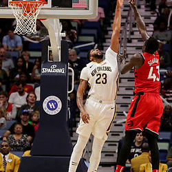 Oct 11, 2018; New Orleans, LA, USA; Toronto Raptors forward Pascal Siakam (43) shoots over New Orleans Pelicans forward Anthony Davis (23) during the first half at the Smoothie King Center. Mandatory Credit: Derick E. Hingle-USA TODAY Sports