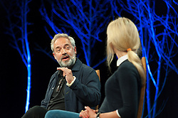 © Licensed to London News Pictures. 28/05/2016. Hay-on-Wye, Powys, Wales, UK. Oscar winning director Sam Mendes talks at the Hay Festival. Fine weather on the third day of the Hay Festival at Hay-on-Wye, Wales. Photo credit: Graham M. Lawrence/LNP