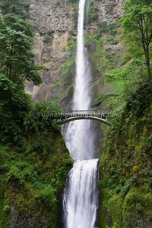 Multnomah falls, located east of Troutdale, Oregon is a popular tourist attraction off of Interstate 84.  The falls drop a total of 620 feet into the Columbia River Gorge making it the third tallest year round waterfall in the United States.