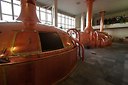 Ceske Budejovice/Czech Republic, CZE, 12.12.06: The brew house is aptly named. This is where the beer is produced. Or rather, this is where the foundations of the beer are laid, using high quality water, select Moravian malt and the finest Zatec hops ? a special strain harvested relatively early in the season from the unique red soils of Zatec. The mixing of these ingredients results in something called hopped wort. Wort is the name given to an infusion of malt before it is fermented into beer.