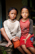 A portrait of young Sherpa girls, Annapurna Sanctuary, Nepal
