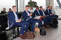 BELGRADO - 16-09-2015, aankomst vertrek AZ - FK Partizan, Partizanstadion, AZ speler Mattias Johansson (l), AZ speler Markus Henriksen (2vl).