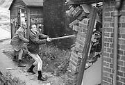 Nev and Symond Smash Wall, UK, 1980s.