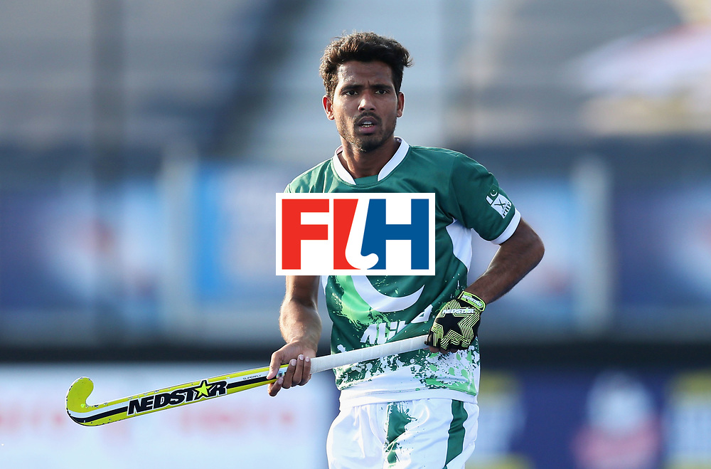 LONDON, ENGLAND - JUNE 16:  Muhammad Mushtaq of Pakistan looks on during the Hero Hockey World League Semi-Final Pool B match between Pakistan and Canada at Lee Valley Hockey and Tennis Centre on June 16, 2017 in London, England.  (Photo by Alex Morton/Getty Images)